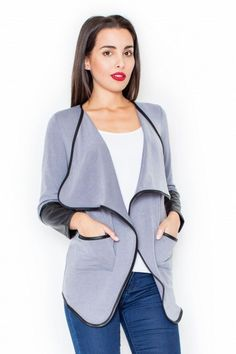 Gray sweater with long sleeves and hems finished with PU leather