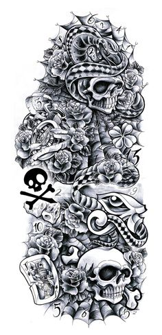Commission - sleeve Andrea by Willem A full-sleeve design with: Skulls - snake - clock - roses - eye of horus - Jack Card (deck)  do not use - contact me for own commish.
