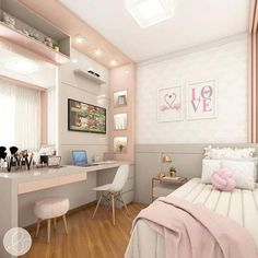 Room decor - Project @ architect leticiasantana And always a love project for girls ! Look at this room, has no charm With a lot of … architectleticiasa Small Room Bedroom, Girls Bedroom, Bedroom Decor, Childrens Bedroom, Bedroom Lighting, Bedroom Furniture, Small Bedroom Interior, Bedroom Green, Small Rooms