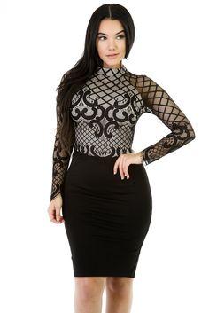 b60faa585f Her Mock Neckline Long Sleeves Mesh Romances Dress. Lace Party DressesMaxi  ...