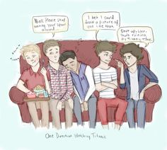 This is what happens when I watch Titanic and listen to One Direction at the same time. Sorry for my coloring it's pretty sloppy haha One Direction Movie Night One Direction Fan Art, One Direction Cartoons, One Direction Drawings, One Direction Videos, One Direction Memes, One Direction Pictures, Thing 1, James Horan, Larry Stylinson