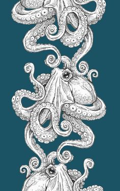 Printed in this seasons hottest colors, or any custom color of your choice.  I drew the octopus myself! It is very detailed and done in Pen