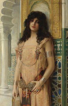 Beauté orientale (Oriental Beauty) ~ also known as  L'Odalisque au tambourin |  Oil on Canvas by Léon-François Comerre (1850 - 1916
