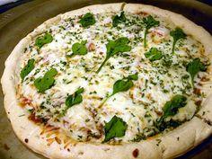 St. Patty's Day White Pizza w/ Basil Leaf Shamrocks....yummy!