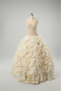 Champagne Wedding Dresses Plus Size, Sweetheart Organza Wedding Dress