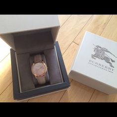 Burberry Check Stamped Rose Gold Watch Gorgeous watch! Kept in excellent condition. Rose gold with leather strap. Only sign of wear  is normal wear is on the strap. Comes with original boxes. 34mm case. 18mm band width. Stainless steel. Swiss Quartz movement.  No trades. Burberry Accessories Watches