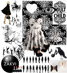 """""""black and white"""" by hidra ❤ liked on Polyvore"""