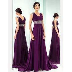 Formal Evening Dress - Grape Plus Sizes A-line V-neck Sweep/Brush Train Chiffon #0000Q Blushing Pink