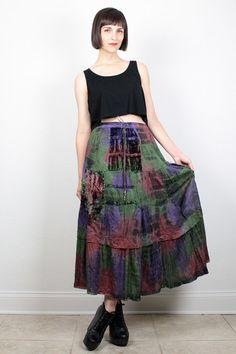 Vintage 90s Skirt Crushed Velvet Maxi Skirt 1990s Skirt Midi Skirt Soft Grunge Hippie Skirt Green Purple Pin Tie Dye Boho Skirt M Medium by ShopTwitchVintage #vintage #etsy #90s #1990s #grunge #softgrunge #hippie #boho #tiedye #tiedyed #velvet #skirt #midiskirt #maxiskirt