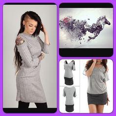 "Grey Cold Shoulder Dress NWOT grey cotton dress. Cut out ""cold shoulder"" style. Cute and comfy size XS. Exchange value 8 Dresses"