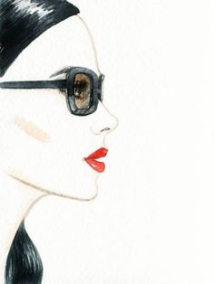 Photographic Print: Woman Face with Glasses. Fashion Illustration by Anna Ismagilova : 24x18in