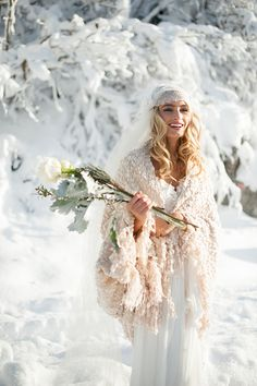 Boho Winter Bride . . . Winter Wedding Inspiration by Blue Rose Photography, Styled by Simply by Tamara Nicole, Hair and Makeup by Yessie Makeup Artistry, Florarama Modern Design (flowers).Hannah Loop= SMG model, etc. Stella's Design