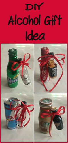 A quick and easy DIY Alcohol Gift Idea using mini alcohol bottles and mixers that are sure to be a hit and great for gift exchanges too! Mini Alcohol Bottles Gifts, Mini Liquor Bottles, Alcohol Gifts, Alcohol Gift Baskets, Christmas Baskets, Diy Christmas Gifts, Holiday Gifts, Christmas Holiday, Homemade Gifts