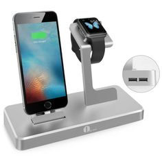 Cool Apple Watch Charging Stand, Charging Dock for iWatch, iPad and iPhone with 2 USB Ports, Apple MFi Certified Power Station in Aluminium Alloy, Grey Apple Watch Ipad, Apple Watch Charging Stand, Office Gadgets, Apple Watch Iphone, Usb, Green Technology, Gadgets And Gizmos, Apple Products, Aluminium Alloy