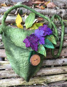 Woodland  Leaf Felted Purse woodland bag-unique felt by folkowl