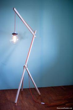 Elegant DIY Lamps Created For Under Using Recycled Parts Diy Floor Lamp, Arc Floor Lamps, Modern Floor Lamps, Modern Lighting, Lighting Design, Wooden Lamp, Wooden Diy, Diy Wood, Room Lamp