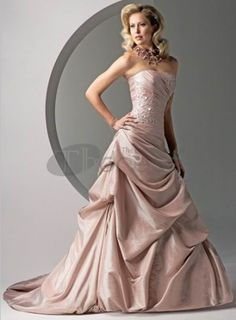Strapless Ruched Beaded Logn Sweep Train A Line Elegant Pink Wedding Dress,Colorful Wedding Dresses-Cheap option from a custom-made dress. The focus will be on the bride because she will stand out as the elegant factor in an outdoor rustic themed wedding. Wedding Dresses Plus Size, Colored Wedding Dresses, Cheap Wedding Dress, Wedding Dress Styles, Gown Wedding, Lace Wedding, Pretty Dresses, Beautiful Dresses, Sottero And Midgley Wedding Dresses