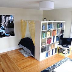 21 design hacks for your tiny apartment.  Example: tiny apartment storage room divider