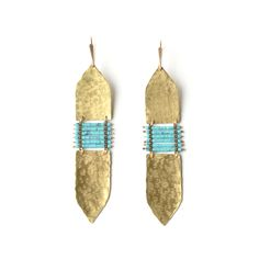 Image of Demimonde Turquoise and Hammered Brass Earrings