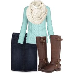 fashion look from December 2014 featuring Fat Face sweaters, Boden skirts and Naturalizer boots. Browse and shop related looks. Apostolic Fashion, Modest Fashion, Modest Clothing, Mode Outfits, Fashion Outfits, Womens Fashion, Fashion Fashion, Fashion Ideas, Fall Winter Outfits