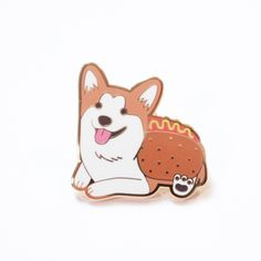 Do you love corgis dressed up as hot dogs? I mean, who doesn't? Which is why everyone on the planet needs this enamel pin featuring Sneakers the Corgi as a hot dog. This custom design was stamped onto
