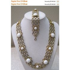 55% STORE WIDE SALE Vintage White Cabochons And Gold Necklace And... ($34) ❤ liked on Polyvore featuring jewelry, gold bracelet set, cabochon jewelry, yellow gold jewelry, gold jewelry and champagne jewelry