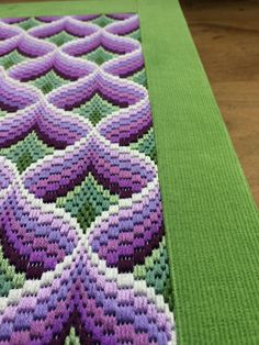 Bargello Needlepoint or Florentine Long stitch Original handmade in Spring 2018 in a beautiful and stunning design in purple, lilac and greens. Traditional popular Bargello Pomegranates design taking about 40 hours work to complete and Using DMC Embroidery Cotton Floss Threads