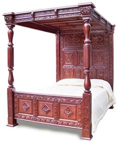 Reproduction Antique English Tudor Style Panelled Carved Four Poster Solid Mahogany Canopy Bed 4 Poster, Dallas Texas collection