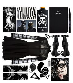 """""""A little darkness did her good"""" by sunnydays4everkh ❤ liked on Polyvore featuring Akris, Giamba, Urban Decay, Yves Saint Laurent, Nika and Gucci"""