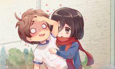 Eren X Mikasa, Aot Characters, Eremika, Art Memes, Attack On Titan Anime, Character Art, Chibi, Fan Art, Cute
