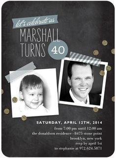 Adult Birthday Party Invitations Blackboard Snapshots - Front : Eucalyptus