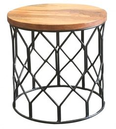 If you're looking for something different, then this light mango wood side table with a round patterned metal base is perfect for you. The combination of iron and hardwood will look great in any modern and traditional home.