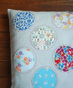 Reverse applique pillow - how to use up all your extra fabric scraps in a cute way