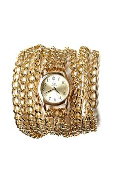 Gold All Chain Small Face Wrap Watch by Sara Designs