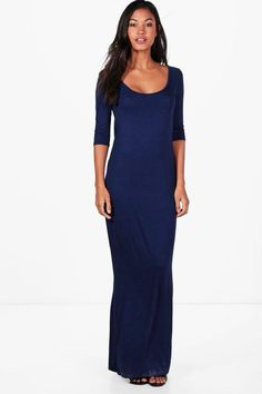 boohoo Shelly 3/4 Sleeve Scoop Neck Maxi Dress #http://shopstyle.it/l/fpyC #day#to#night #casual