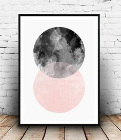 Geometric poster, abstract wall print, minimalist art, scandinavian design, pink and black, watercolor art, modern art, home decor, boho