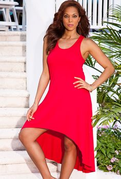 Red Plus Size Hi-Low Racerback Dress. http://www.swimsuitsforall.com/Red-HighLow-Racer-Back-Tank-Dress?p=4212&AID=10811526&PID=7321933&ref=CJP