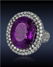 Amethyst Diamond Ring with 17.59cts Oval Amethyst Center to 6.92cts Pave Set White Diamonds (182 Stones) on Gallery and Shank.