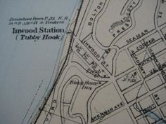 Tubby Hook detail, 1891 map by Frederick W. Fort Washington, Washington Heights, Map Of New York, Inwood Nyc, Pretty Names, New York City Manhattan, Fishing Villages