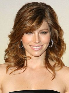 medium length curly haircuts | Jessica Biel Medium, Curly, Fine Hairstyle with Bangs - Beauty Riot