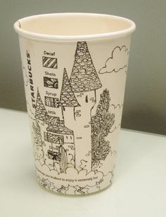 Doodled Starbucks cup. :) Jack and the Beanstalk-inspired. I believe I drew this while we were stuck in traffic somewhere in Indiana on a road trip.