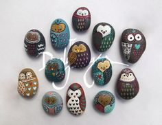 Owl painted rock in Grey Neon Coral and Blue by TheDandyDragon