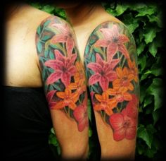 25 Lily Flower Sleeve Tattoo