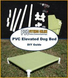 your dog need a comfortable place to rest outside? This guide will show you how to make a comfy raised PVC bed!Does your dog need a comfortable place to rest outside? This guide will show you how to make a comfy raised PVC bed! Pvc Dog Bed, Diy Pour Chien, Hotel Pet, Raised Dog Beds, Elevated Dog Bed, Dog Cots, Dog Daycare, Dog Park, Diy Stuffed Animals