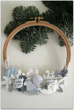 diy wreath using embroidery hoop ~ wreath using embroidery hoop Stampin Up Christmas, Noel Christmas, Christmas Wreaths, Christmas Crafts, Christmas Decorations, Christmas Ornaments, Embroidery Hoop Crafts, Home And Deco, Diy Wreath