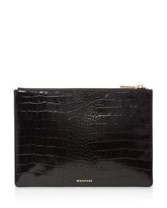 WHISTLES Embossed Leather Clutch. #whistles #bags #leather #clutch #polyester #lining #hand bags #