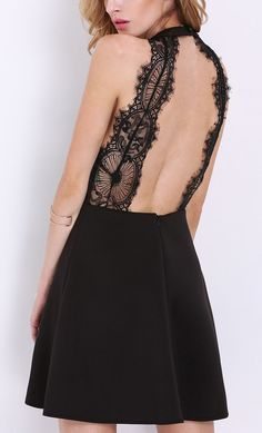 Love the design in this black halter lace backless dress