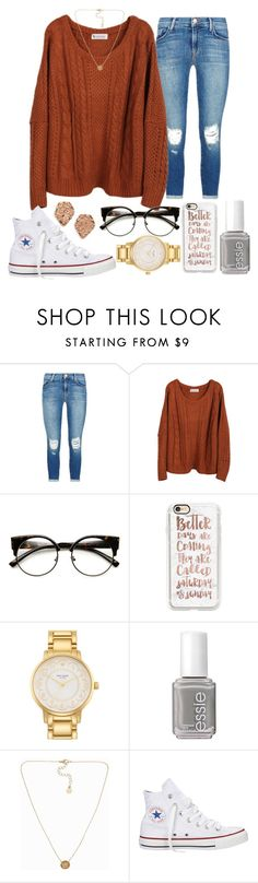 """baby it's cold outside ❄"" by hey-faith ❤ liked on Polyvore featuring J Brand, ZeroUV, Casetify, Kate Spade, Essie, Pieces, Converse and Kendra Scott"