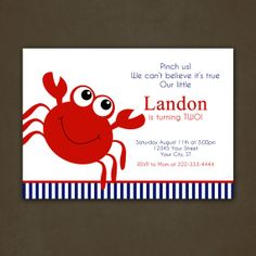 Crab Birthday Party Invitations Digital File by PinkSkyPrintables, $12.00