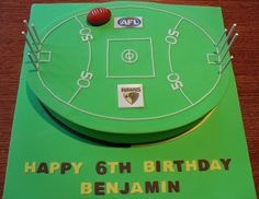 hawks aussie rules birthday cake in the shape of a footy field. Thomas Birthday, Happy 6th Birthday, Boy Birthday, Birthday Ideas, Birthday Cake, Football Birthday, Sports Birthday, Football Field Cake, Football Cakes
